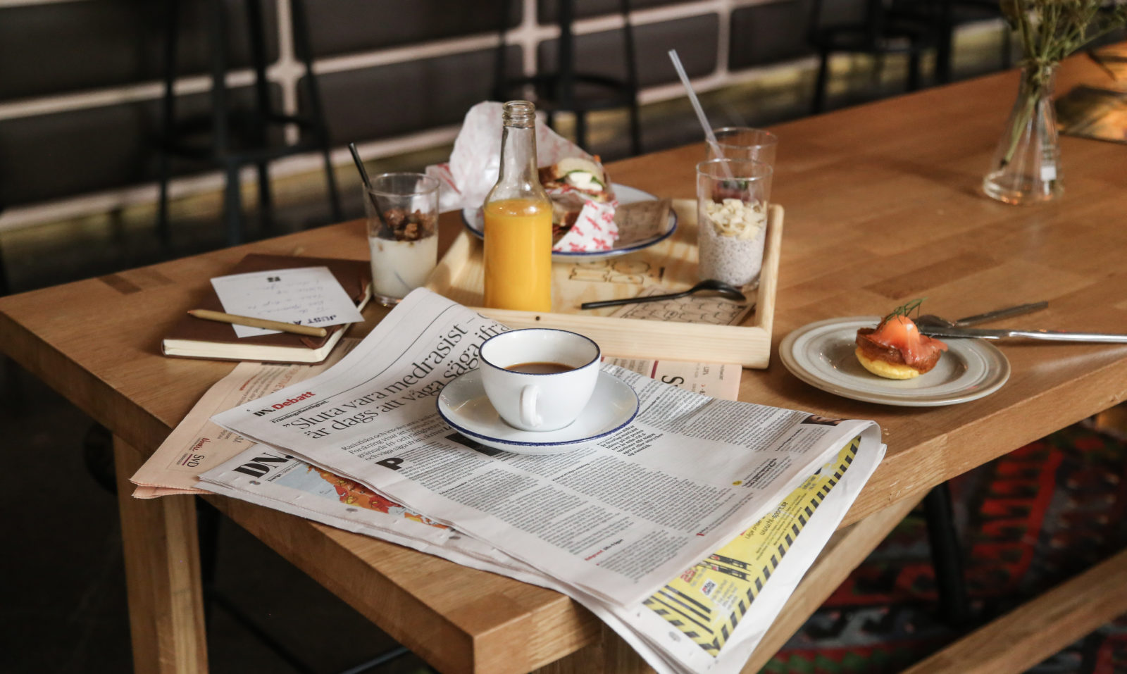 breakfast with fresh squeezed orange juice and coffee and hobo hotel in stockholm
