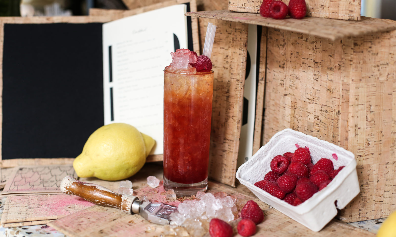fresh drinks with taste of lemon and raspberry at Hobo Hotel in Stockholm