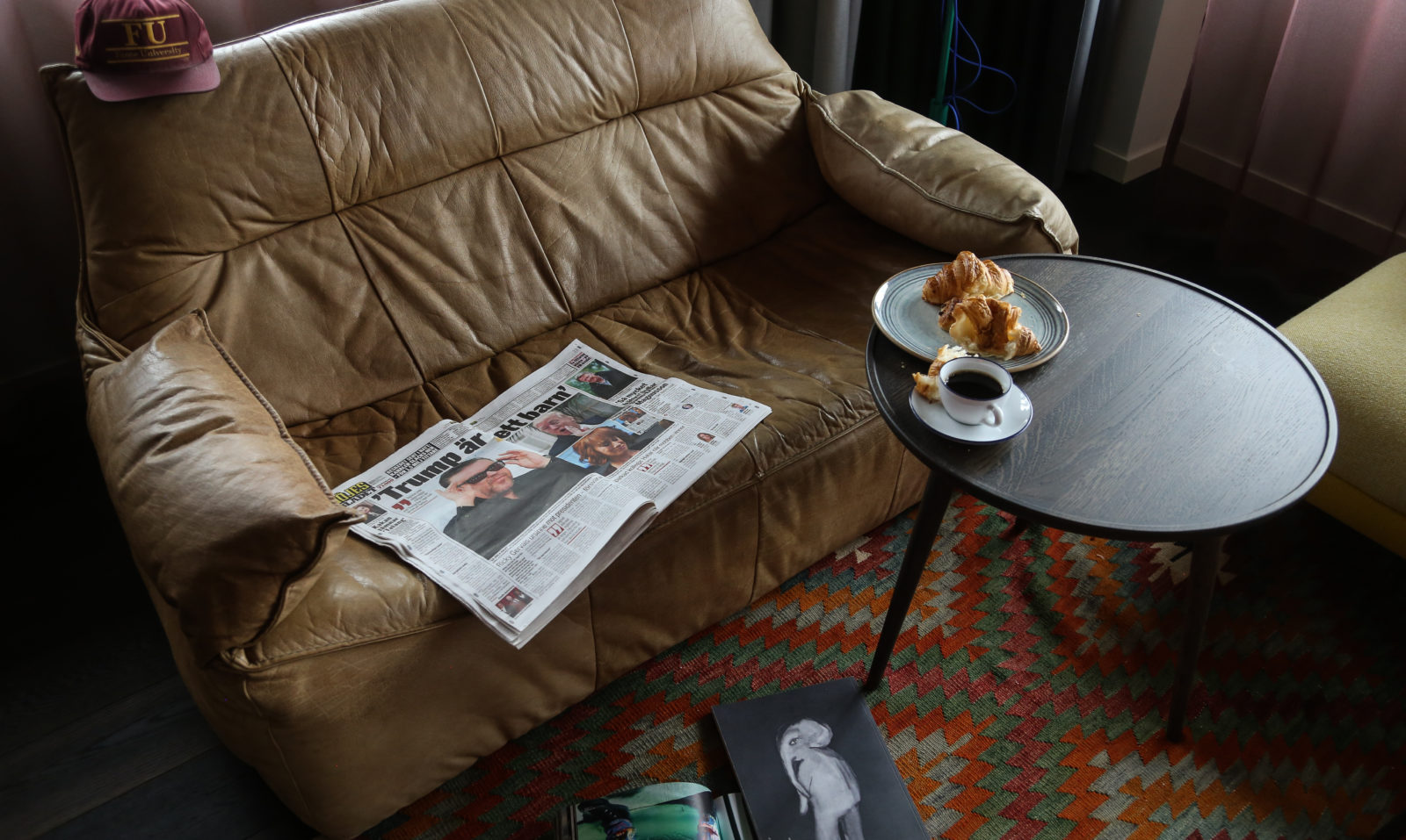 coffee and croisssans for breakfast in homelike atmosphere at Hobo Hotel in Stockholm